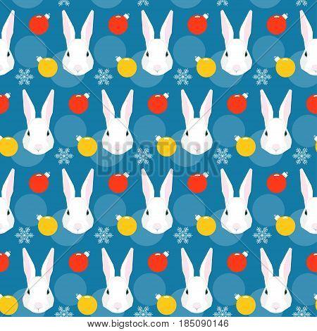 Cartoon White Rabbit And Glass Ball Seamless Pattern Background.