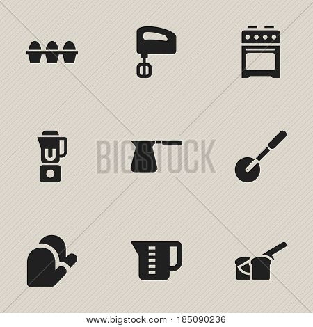 Set Of 9 Editable Cooking Icons. Includes Symbols Such As Stove , Hand Mixer, Agitator. Can Be Used For Web, Mobile, UI And Infographic Design.