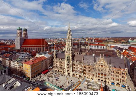 Aerial view of the new Town Hall Marienplatz and Frauenkirche in Munich. Germany. Bavaria.