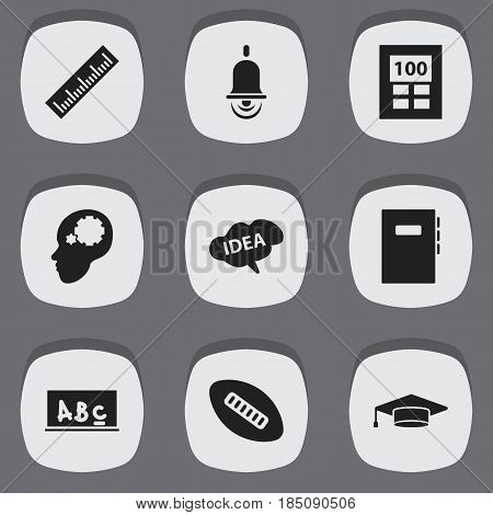 Set Of 9 Editable Science Icons. Includes Symbols Such As Alarm Bell, Mind, Graduate And More. Can Be Used For Web, Mobile, UI And Infographic Design.