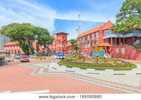 MALACCA, MALAYSIA - AUGUST 12, 2016: A view of Christ Church & Dutch Square on August 12, 2016 in Malacca Malaysia. It was built in 1753 by Dutch & is the oldest 18th century Protestant church in Malaysia.