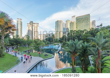 KUALA LUMPUR, MALAYSIA - AUGUST 13, 2016: View of KLCC Park. It is a public park located in the vicinity of Suria KLCC Kuala Lumpur designed to provide greenery to the Towers and surrounding area.