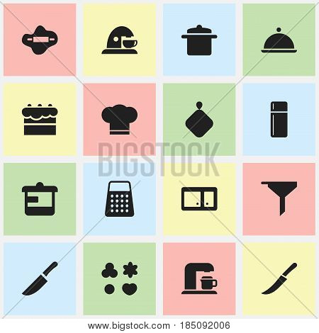 Set Of 16 Editable Cook Icons. Includes Symbols Such As Salver, Sword, Pot-Holder And More. Can Be Used For Web, Mobile, UI And Infographic Design.