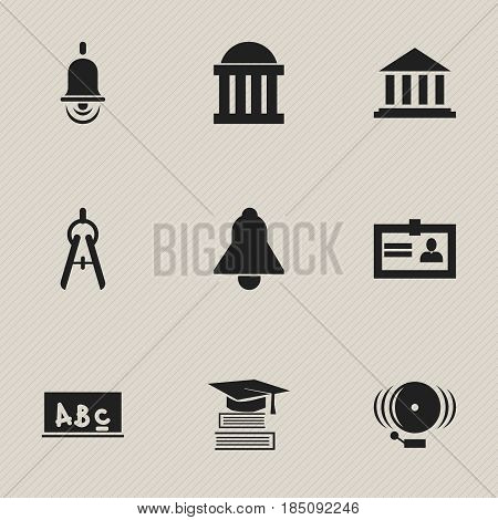 Set Of 9 Editable Graduation Icons. Includes Symbols Such As Education, Alarm Bell, Courtroom And More. Can Be Used For Web, Mobile, UI And Infographic Design.
