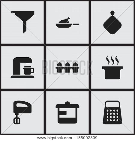 Set Of 9 Editable Cook Icons. Includes Symbols Such As Drink Maker, Soup Pot, Shredder And More. Can Be Used For Web, Mobile, UI And Infographic Design.