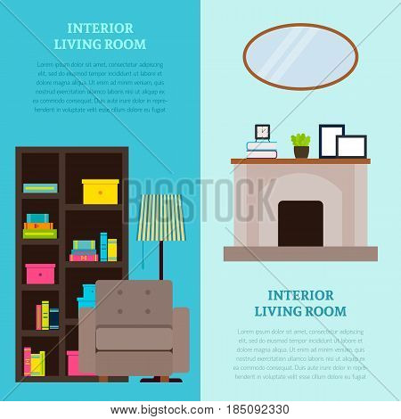 Living room interior design vertical banners with bookcase armchair lamp fireplace mirror and accessories vector illustration