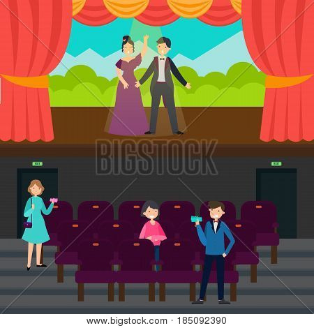 People In theatre horizontal banners with actors standing on stage and audience in flat style vector illustration