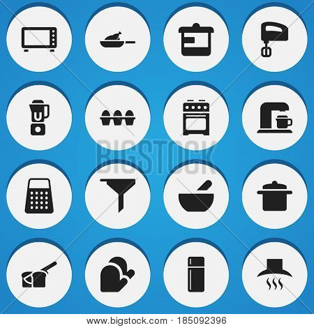 Set Of 16 Editable Meal Icons. Includes Symbols Such As Filtering, Utensil, Agitator And More. Can Be Used For Web, Mobile, UI And Infographic Design.