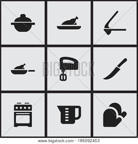 Set Of 9 Editable Cook Icons. Includes Symbols Such As Sword, Agitator, Fried Chicken And More. Can Be Used For Web, Mobile, UI And Infographic Design.