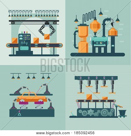 Industrial factory interior square concept with assembly control packaging lines and water system vector illustration