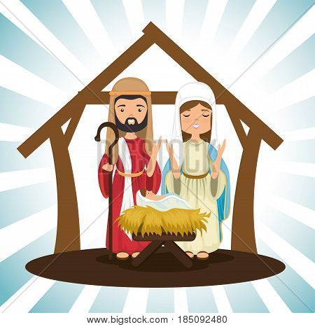 holy family religious card vector illustration design