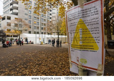 BERLIN - OCTOBER 30 2015: Centre for the reception and registration of refugees - LaGeSo. The label indicating the rules of conduct in the territory.