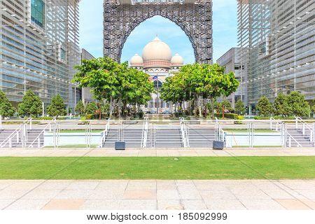 PUTRAJAYA, MALAYSIA - AUGUST 15, 2016: Panorama view of The Masjid Tuanku Mizan Zainal Abidin on August 16, 2016 in Putrajaya Malaysia. It also named The Iron Mosque is the second principal mosque in Putrajaya