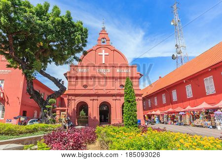 MALACCAม MALAYSIA - AUGUST 12ม 2016: A view of Christ Church & Dutch Square on August 12, 2016 in Malacca Malaysia. It was built in 1753 by Dutch & is the oldest 18th century Protestant church in Malaysia.