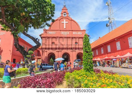 MALACCA, MALAYSIA - AUGUST 12,2016: A view of Christ Church & Dutch Square on August 12, 2016 in Malacca Malaysia. It was built in 1753 by Dutch & is the oldest 18th century Protestant church in Malaysia.
