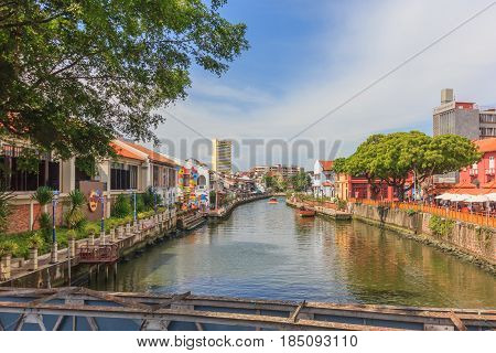 MALACCA, MALAYSIA - AUGUST 13: Landscape of Malacca city along Melaka river on August 13, 2016 in Malacca Malaysia. Malacca has been listed as a UNESCO World Heritage Site since 7 July 2008.