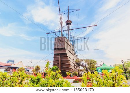MALACCA, MALAYSIA - AUGUST 12, 2016: Malacca Maritime Museum at Malacca city on August 12, 2016 in Malacca Malaysia. Malacca has been listed as a UNESCO World Heritage Site since 7 July 2008.