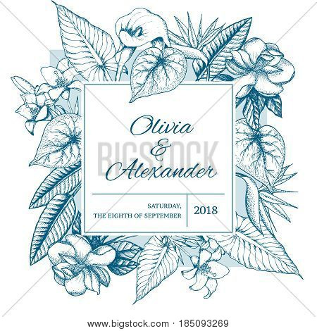 Hand drawn floral wedding invitation card with exotic blooming flowers and leaves vector illustration