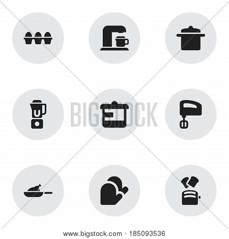 Set Of 9 Editable Meal Icons. Includes Symbols Such As Grill, Agitator, Slice Bread And More. Can Be Used For Web, Mobile, UI And Infographic Design.