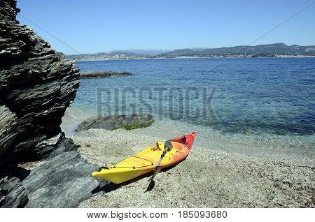 Sea Kayak In Embiez Island Landscape, France