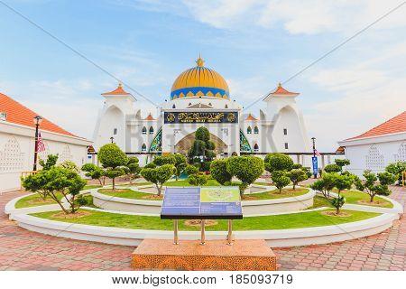 MALACCA, MALAYSIA - AUGUST 12, 2016:Melaka Strait Mosque (Masjid Selat) Malacca Malaysia taken during blue sky