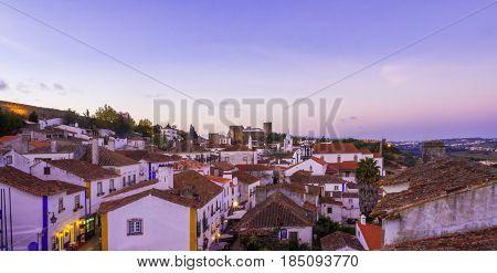 OBIDOS PORTUGAL - APRIL 03 2017: Cityscape of Obidos Portuga by night.