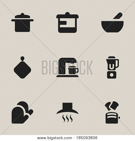 Set Of 9 Editable Cook Icons. Includes Symbols Such As Hand Mixer, Kitchen Hood, Drink Maker. Can Be Used For Web, Mobile, UI And Infographic Design.