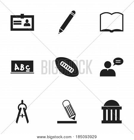 Set Of 9 Editable Education Icons. Includes Symbols Such As Writing, School Board, Math Tool And More. Can Be Used For Web, Mobile, UI And Infographic Design.