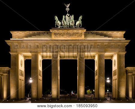 Brandenburg Gate at night. Brandenburg Gate is a symbol of Berlin and Germany.