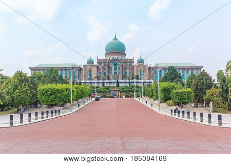 PUTRAJAYA, MALAYSIA - AUGUST 15, 2016: Malaysian Prime Minister's office in Putrajaya It is a planned city 25 km south of capital serves as the federal administrative centre of Malaysia.