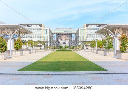 PUTRAJAYA, MALAYSIA - AUGUST 15, 2016: Panorama view of The Masjid Tuanku Mizan Zainal Abidin on August 16 2016 in Putrajaya Malaysia. It also named The Iron Mosque is the second principal mosque in Putrajaya