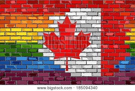 Brick Wall with Canada and Gay flags with effect - 3D Illustration