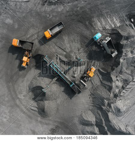 Open pit mine, breed sorting, mining coal, extractive industry anthracite