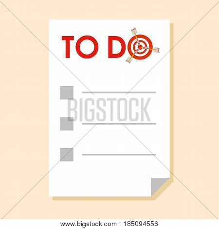 Sticker with To do list and checkboxes. With dart instead of letter 'O' - symbol of success, achievements. Simple flat vector clip art.