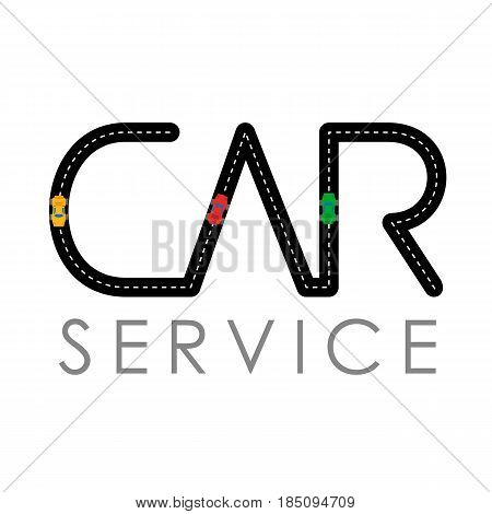 Car service logo template - asphalt road with small vehicles. Logotype for heavy industry, auto parts store, workshop or repair. Simple style vector clip art.