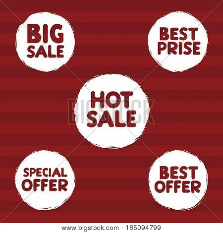 Hot sale, Big sale, Best offer, Best price, special offer marketing promotion grunge labels