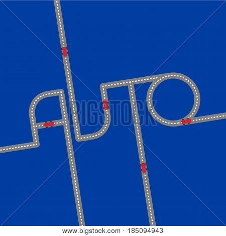 Gray asphalt road in the form of word 'Auto' on navy blue background. With red toy automobiles on it. Logo concept for car shop. Lettering for service center. Simple vector clip art.