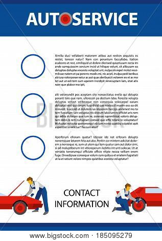 Poster vector template for autoservice, car repair or heavy industry. Two cars and mechanics with wrenches at the bottom. Flat style illustration with title and place for text, size A4.