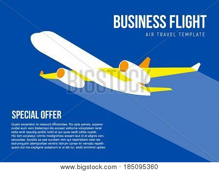Poster vector template with plane taking off and trace behind it. Banner for air travel, delivery or logistic company. Flat style illustration with place for title, slogan and text.