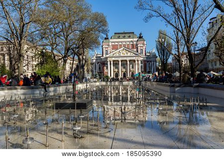 SOFIA, BULGARIA - APRIL 1, 2017: National Theatre Ivan Vazov in Sofia, Bulgaria