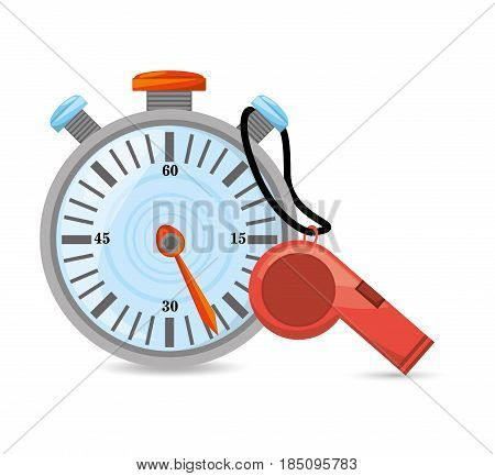 chronometer and whistle to competition training game, vector illustration