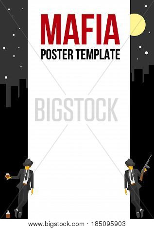 Vector poster of flyer template with two gangsters at the sides. Two vintage mafia men with whiskey and tommy gun. Night cityline at the background. Simple flat clip art.