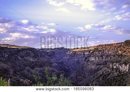 Sunset with purplish skyautumn evening over gorge Kasakh river in the mountains of Armenia