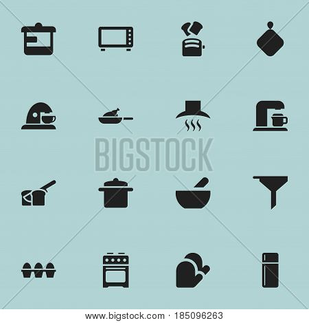 Set Of 16 Editable Food Icons. Includes Symbols Such As Soup, Utensil, Filtering And More. Can Be Used For Web, Mobile, UI And Infographic Design.