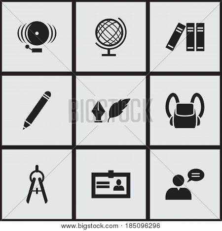 Set Of 9 Editable University Icons. Includes Symbols Such As Bookshelf, Literature, Ring And More. Can Be Used For Web, Mobile, UI And Infographic Design.