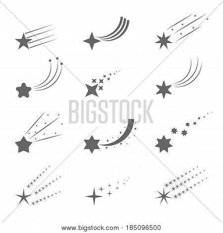 Shooting star icons. Meteorite and comet symbols