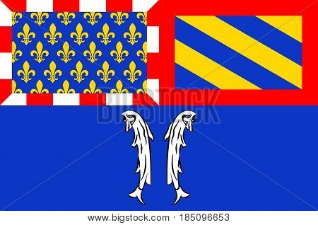 Flag of Montbard is a commune and subprefecture of the Cote-d'Or department in the Bourgogne region in eastern France. Vector illustration