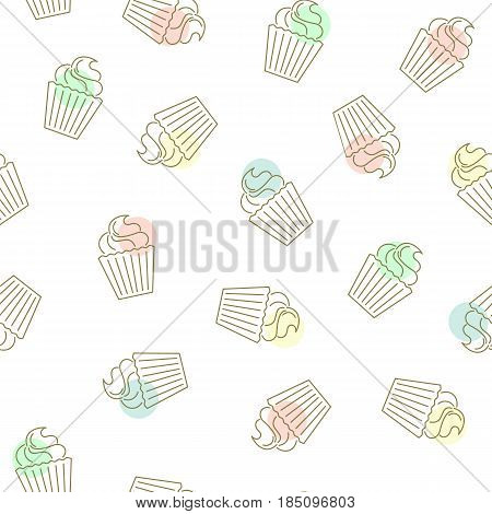 Cupcake seamless pattern. Hand drawn golden cupcakes