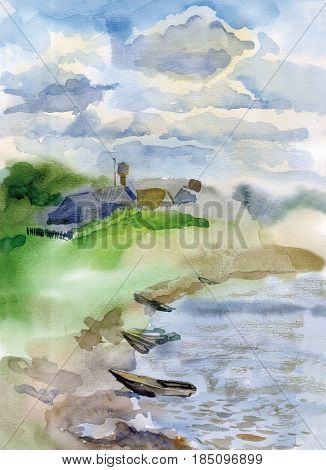Summer landscape with a high clear sky light fluffy clouds. Boats are pulled to the shore of a small river in the distance one sees a small village house