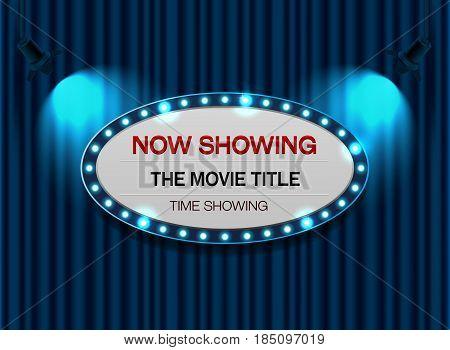 theater sign ellipse on curtain with spotlight vector illustration